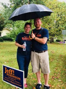 Jeff & Judi Canvassing the neighborhood.